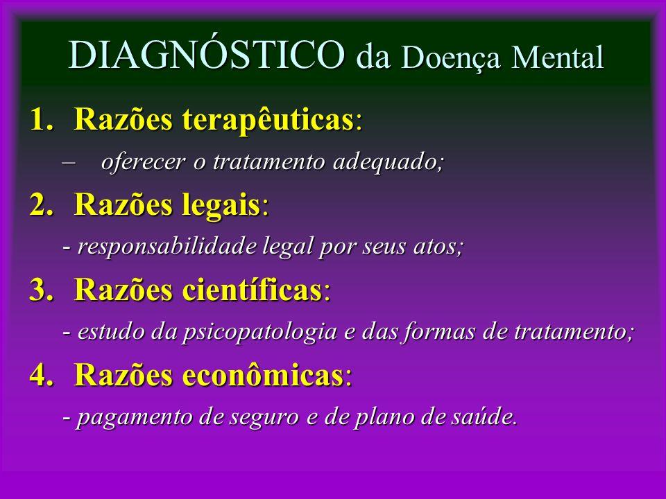 DIAGNÓSTICO da Doença Mental 1.Razões terapêuticas: –oferecer o tratamento adequado; 2.Razões legais: - responsabilidade legal por seus atos; 3.Razões