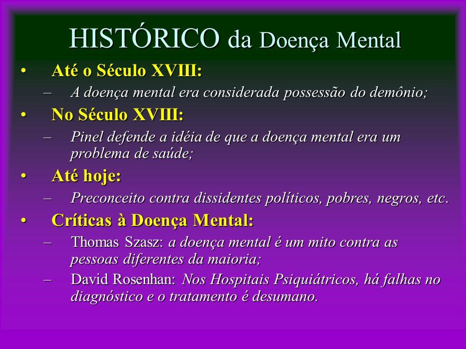 HISTÓRICO da Doença Mental Até o Século XVIII:Até o Século XVIII: –A doença mental era considerada possessão do demônio; No Século XVIII:No Século XVI
