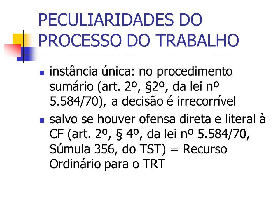PECULIARIDADES DO PROCESSO DO TRABALHO instância única: no procedimento sumário (art. 2º, §2º, da lei nº 5.584/70), a decisão é irrecorrível salvo se