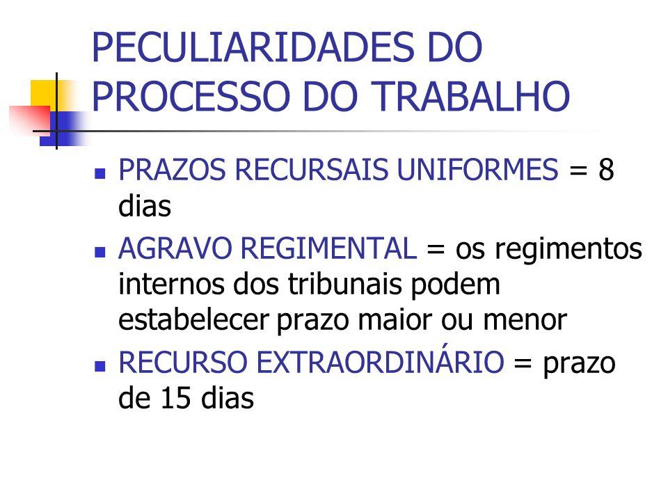 PECULIARIDADES DO PROCESSO DO TRABALHO PRAZOS RECURSAIS UNIFORMES = 8 dias AGRAVO REGIMENTAL = os regimentos internos dos tribunais podem estabelecer