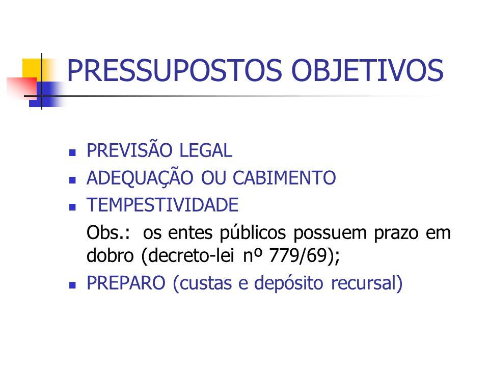 PRESSUPOSTOS OBJETIVOS PREVISÃO LEGAL ADEQUAÇÃO OU CABIMENTO TEMPESTIVIDADE Obs.: os entes públicos possuem prazo em dobro (decreto-lei nº 779/69); PR