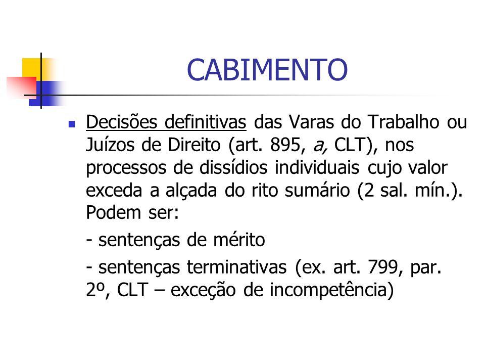 CABIMENTO Decisões definitivas das Varas do Trabalho ou Juízos de Direito (art. 895, a, CLT), nos processos de dissídios individuais cujo valor exceda