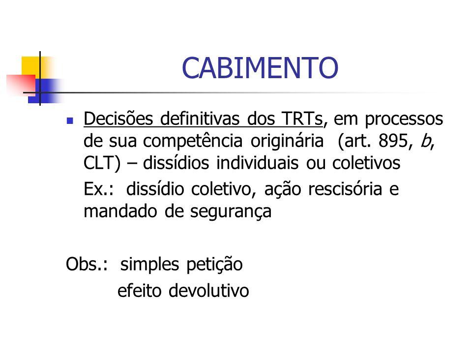 CABIMENTO Decisões definitivas dos TRTs, em processos de sua competência originária (art. 895, b, CLT) – dissídios individuais ou coletivos Ex.: dissí