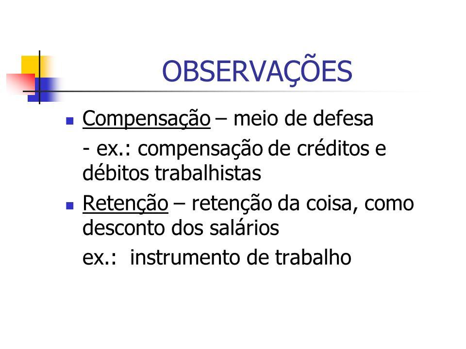 OBSERVAÇÕES Compensação – meio de defesa - ex.: compensação de créditos e débitos trabalhistas Retenção – retenção da coisa, como desconto dos salário