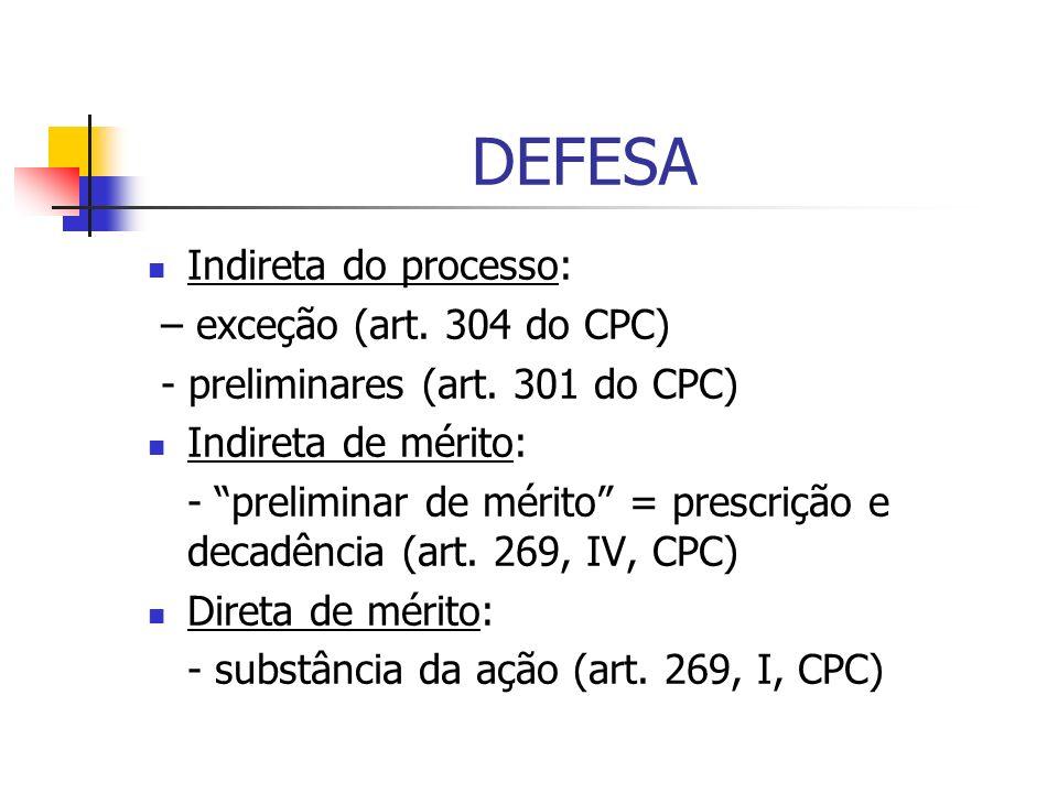 DEFESA Indireta do processo: – exceção (art. 304 do CPC) - preliminares (art. 301 do CPC) Indireta de mérito: - preliminar de mérito = prescrição e de