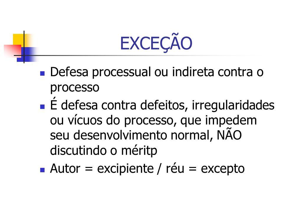 EXCEÇÃO Defesa processual ou indireta contra o processo É defesa contra defeitos, irregularidades ou vícuos do processo, que impedem seu desenvolvimen