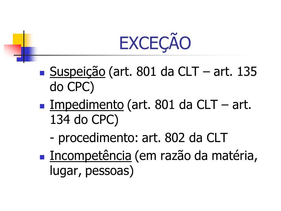 EXCEÇÃO Suspeição (art. 801 da CLT – art. 135 do CPC) Impedimento (art. 801 da CLT – art. 134 do CPC) - procedimento: art. 802 da CLT Incompetência (e