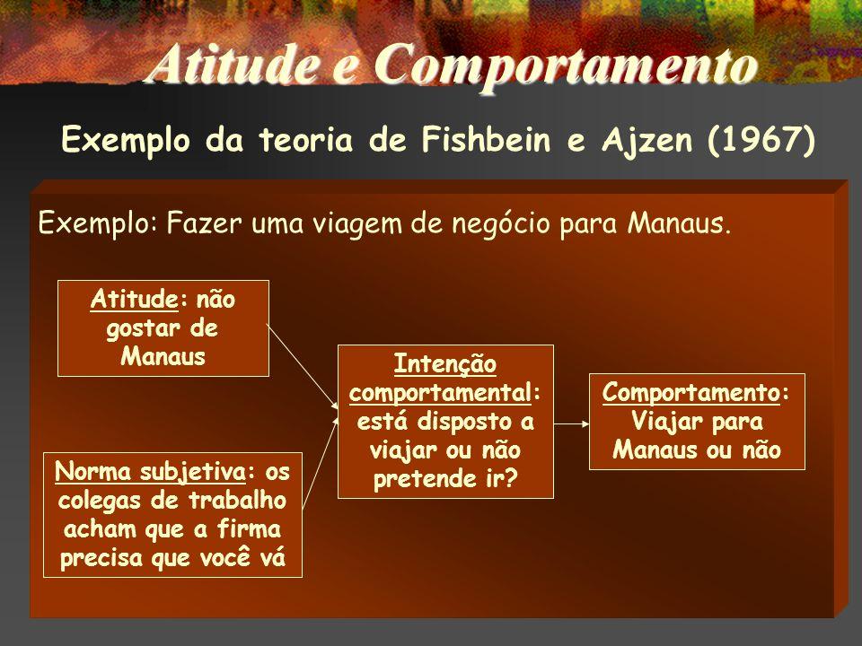 Teoria de Fishbein e Ajzen (1967) Maior será a chance de prevermos um comportamento se conhecermos as intenções do indivíduo e, para isto, é necessári