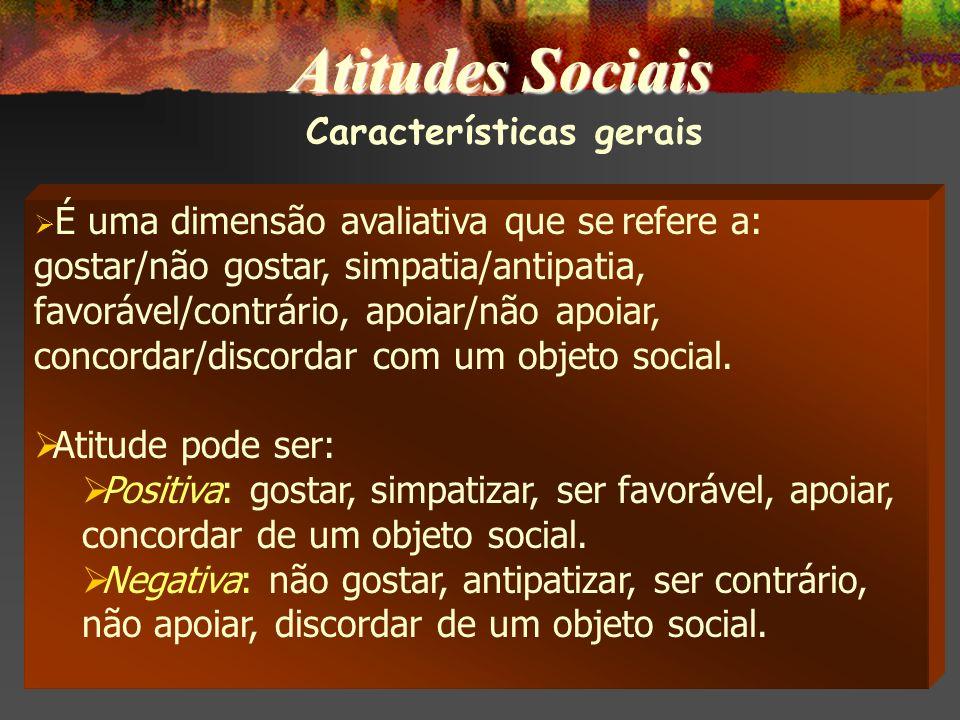 Características gerais É uma dimensão avaliativa que se refere a: gostar/não gostar, simpatia/antipatia, favorável/contrário, apoiar/não apoiar, concordar/discordar com um objeto social.
