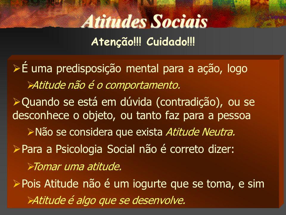 Atenção!!.Cuidado!!. É uma predisposição mental para a ação, logo Atitude não é o comportamento.