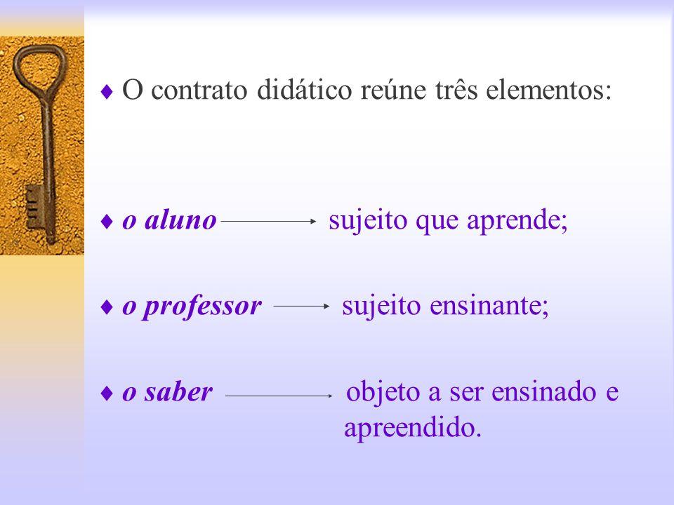 Em outras palavras.... Cada vez que um professor tem a intenção de ensinar um saber aos alunos, aí se instala um processo – um contrato – no qual o al
