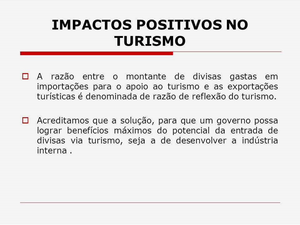 IMPACTOS POSITIVOS NO TURISMO A razão entre o montante de divisas gastas em importações para o apoio ao turismo e as exportações turísticas é denomina