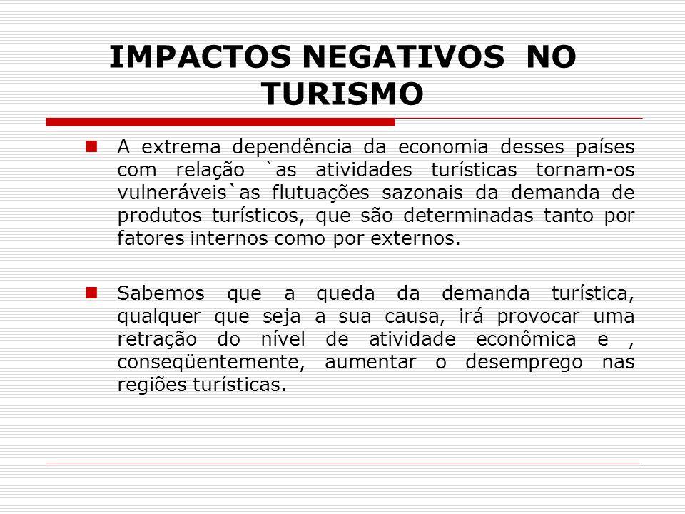 IMPACTOS NEGATIVOS NO TURISMO A extrema dependência da economia desses países com relação `as atividades turísticas tornam-os vulneráveis`as flutuaçõe
