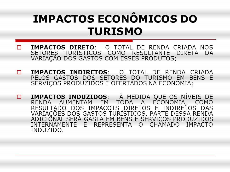 IMPACTOS POSITIVOS NO TURISMO Dentre os vários impactos positivos que a atividade turística provoca sobre a economia de um país podemos citar: