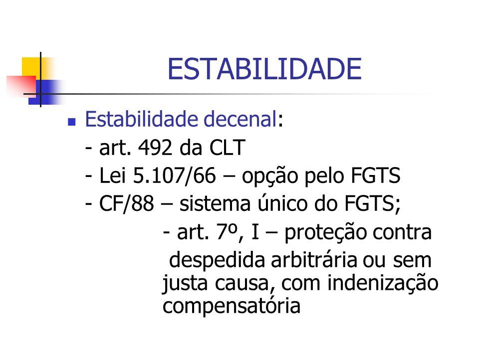 ESTABILIDADE Estabilidade decenal: - art. 492 da CLT - Lei 5.107/66 – opção pelo FGTS - CF/88 – sistema único do FGTS; - art. 7º, I – proteção contra