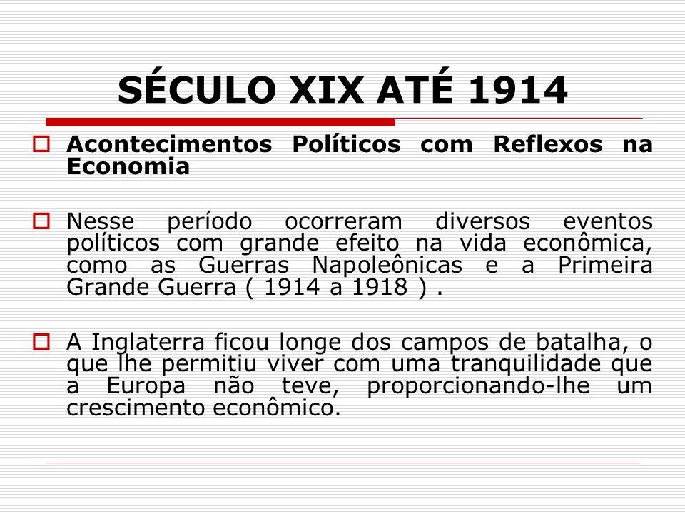 SÉCULO XIX ATÉ 1914 Acontecimentos Políticos com Reflexos na Economia Nesse período ocorreram diversos eventos políticos com grande efeito na vida econômica, como as Guerras Napoleônicas e a Primeira Grande Guerra ( 1914 a 1918 ).