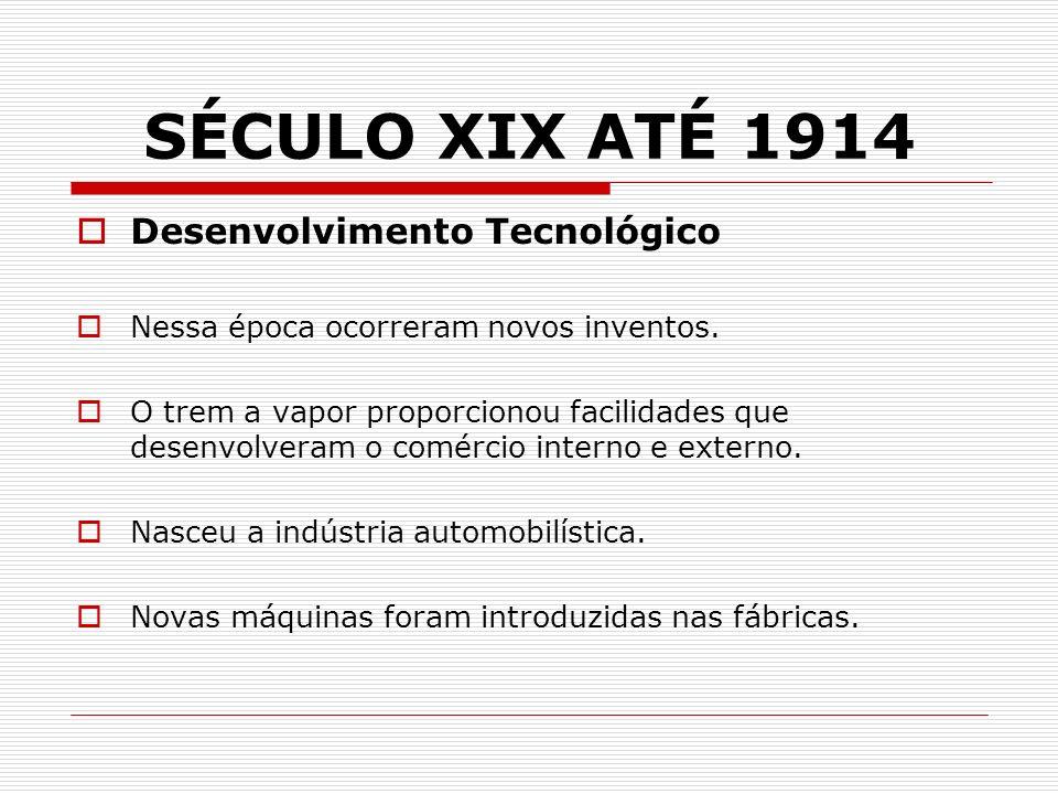 SÉCULO XIX ATÉ 1914 Desenvolvimento Tecnológico Nessa época ocorreram novos inventos. O trem a vapor proporcionou facilidades que desenvolveram o comé