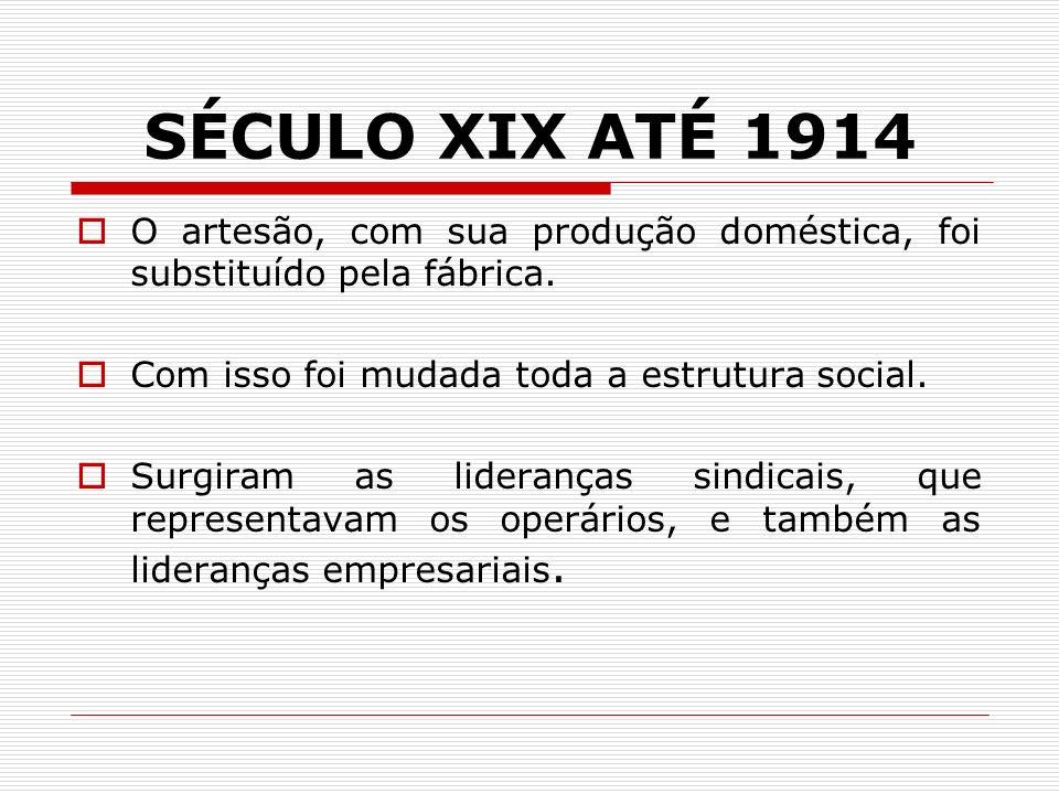 SÉCULO XIX ATÉ 1914 O artesão, com sua produção doméstica, foi substituído pela fábrica. Com isso foi mudada toda a estrutura social. Surgiram as lide