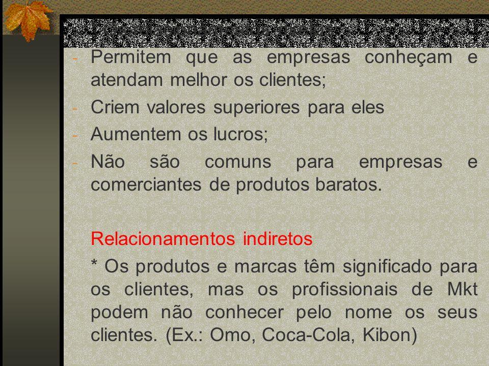 * Os relacionamentos diretos: - Permitem que as empresas conheçam e atendam melhor os clientes; - Criem valores superiores para eles - Aumentem os lucros; - Não são comuns para empresas e comerciantes de produtos baratos.