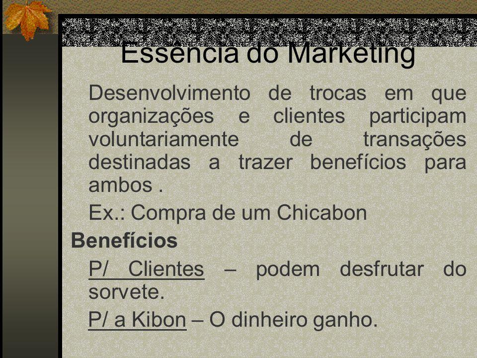 Essência do Marketing Desenvolvimento de trocas em que organizações e clientes participam voluntariamente de transações destinadas a trazer benefícios para ambos.