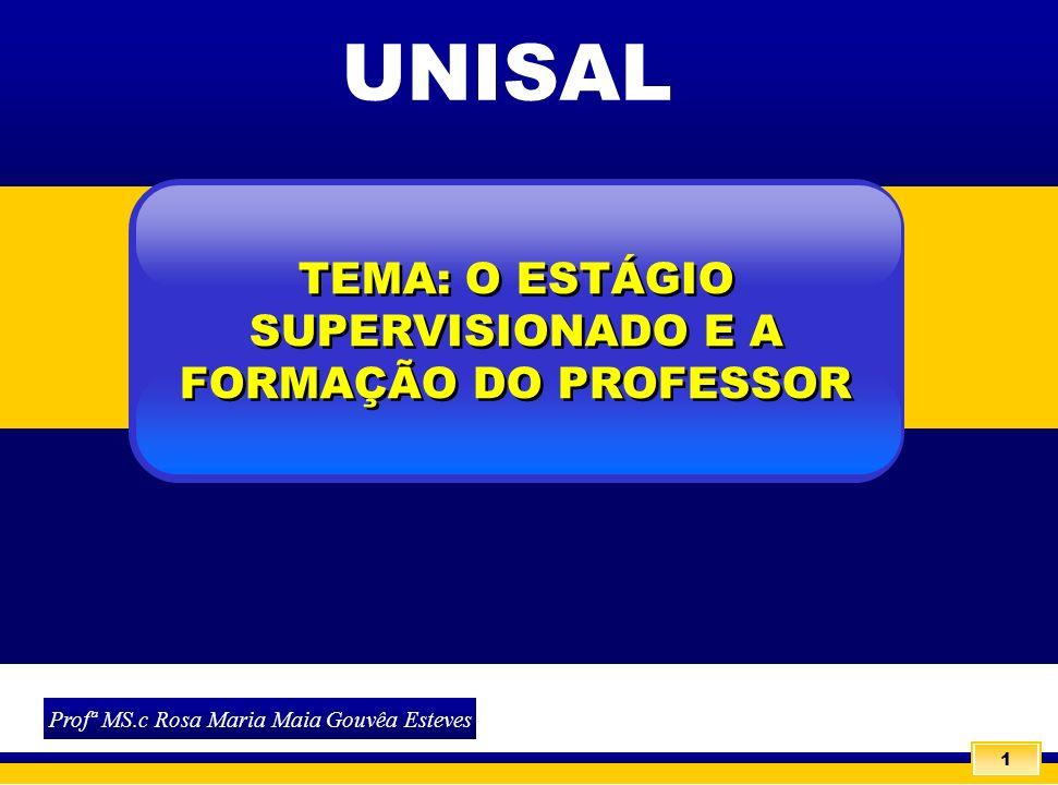 1 Profª MS.c Rosa Maria Maia Gouvêa Esteves 1 TEMA: O ESTÁGIO SUPERVISIONADO E A FORMAÇÃO DO PROFESSOR UNISAL