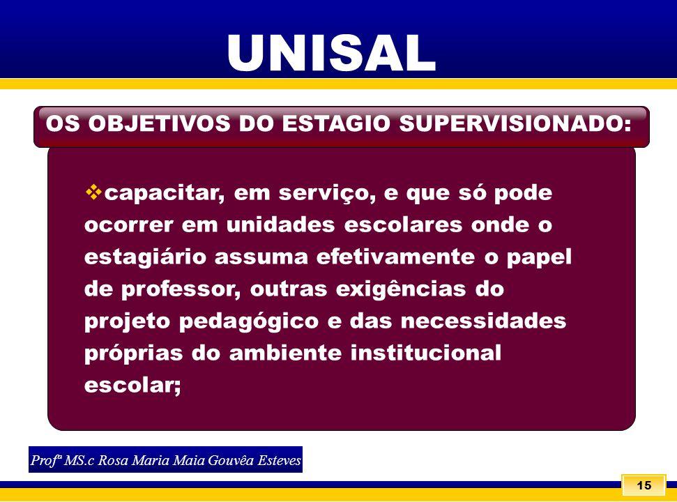 15 UNISAL capacitar, em serviço, e que só pode ocorrer em unidades escolares onde o estagiário assuma efetivamente o papel de professor, outras exigên