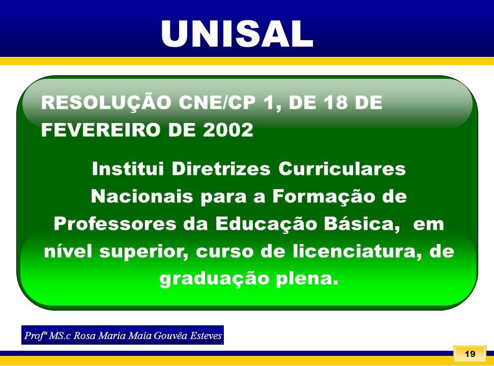 19 RESOLUÇÃO CNE/CP 1, DE 18 DE FEVEREIRO DE 2002 Institui Diretrizes Curriculares Nacionais para a Formação de Professores da Educação Básica, em nív