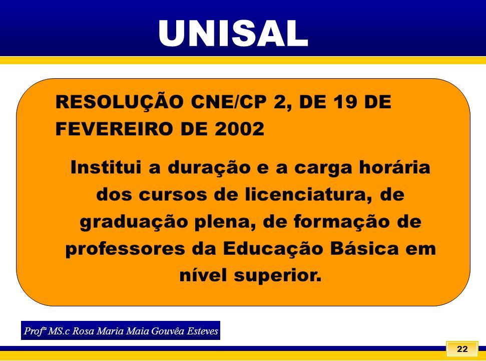 22 RESOLUÇÃO CNE/CP 2, DE 19 DE FEVEREIRO DE 2002 Institui a duração e a carga horária dos cursos de licenciatura, de graduação plena, de formação de