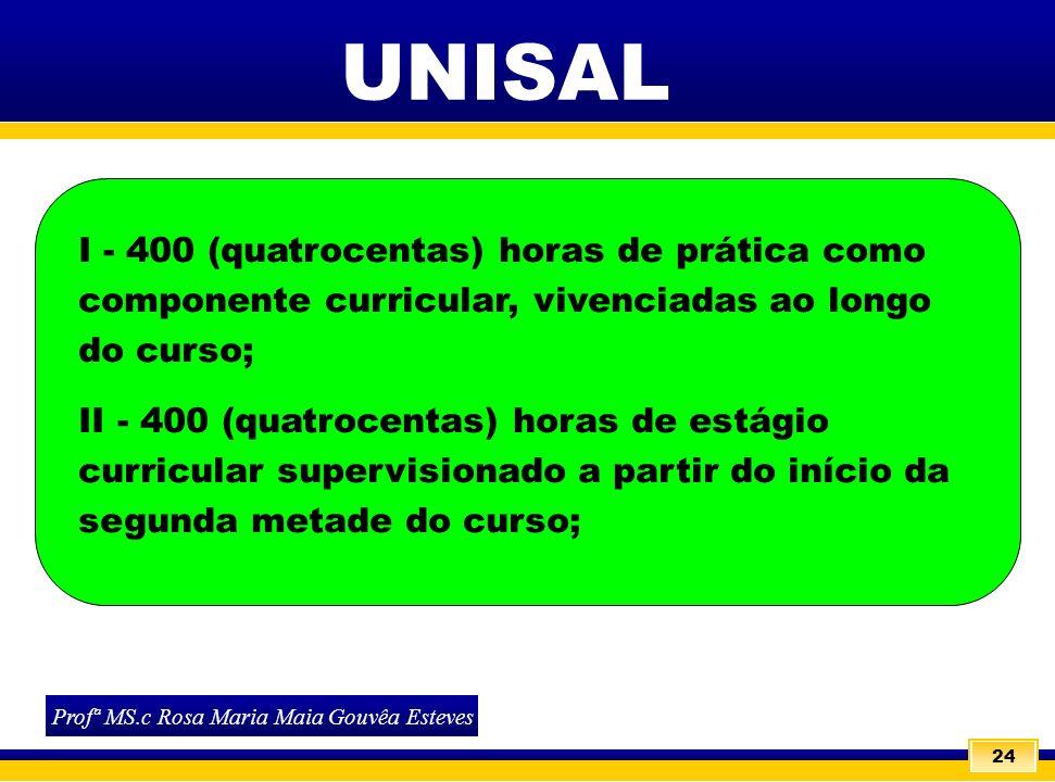 24 I - 400 (quatrocentas) horas de prática como componente curricular, vivenciadas ao longo do curso; II - 400 (quatrocentas) horas de estágio curricu