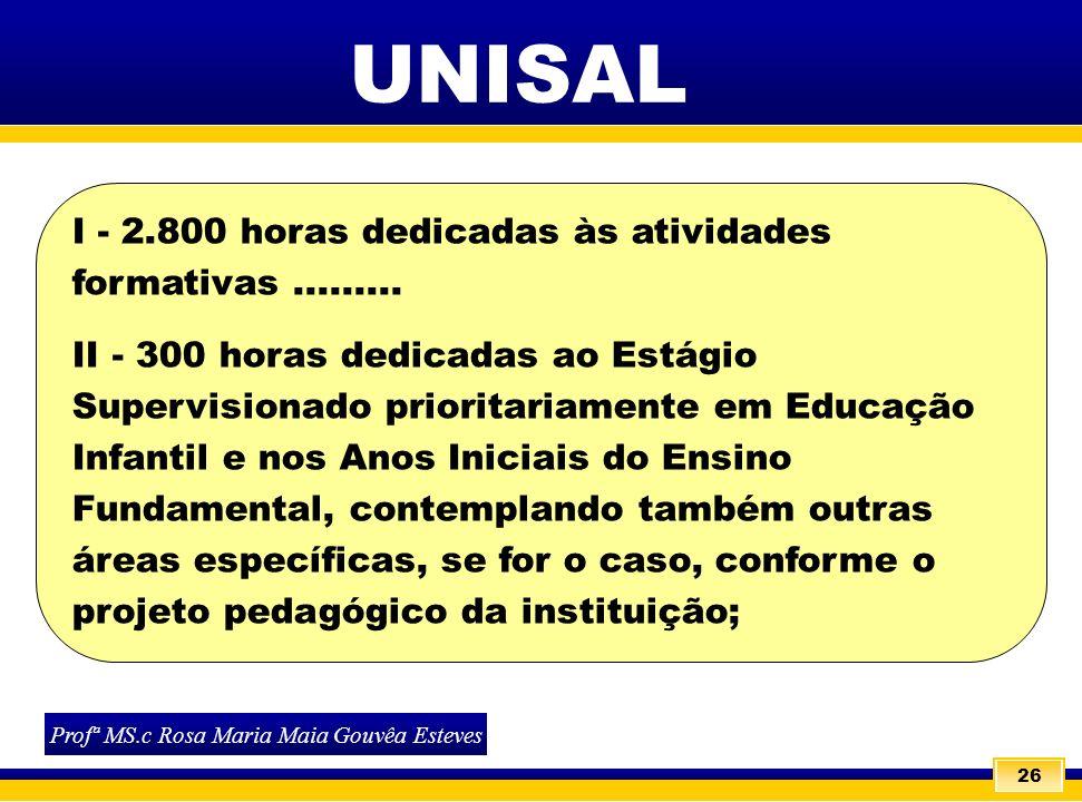 26 Profª MS.c Rosa Maria Maia Gouvêa Esteves UNISAL I - 2.800 horas dedicadas às atividades formativas......... II - 300 horas dedicadas ao Estágio Su