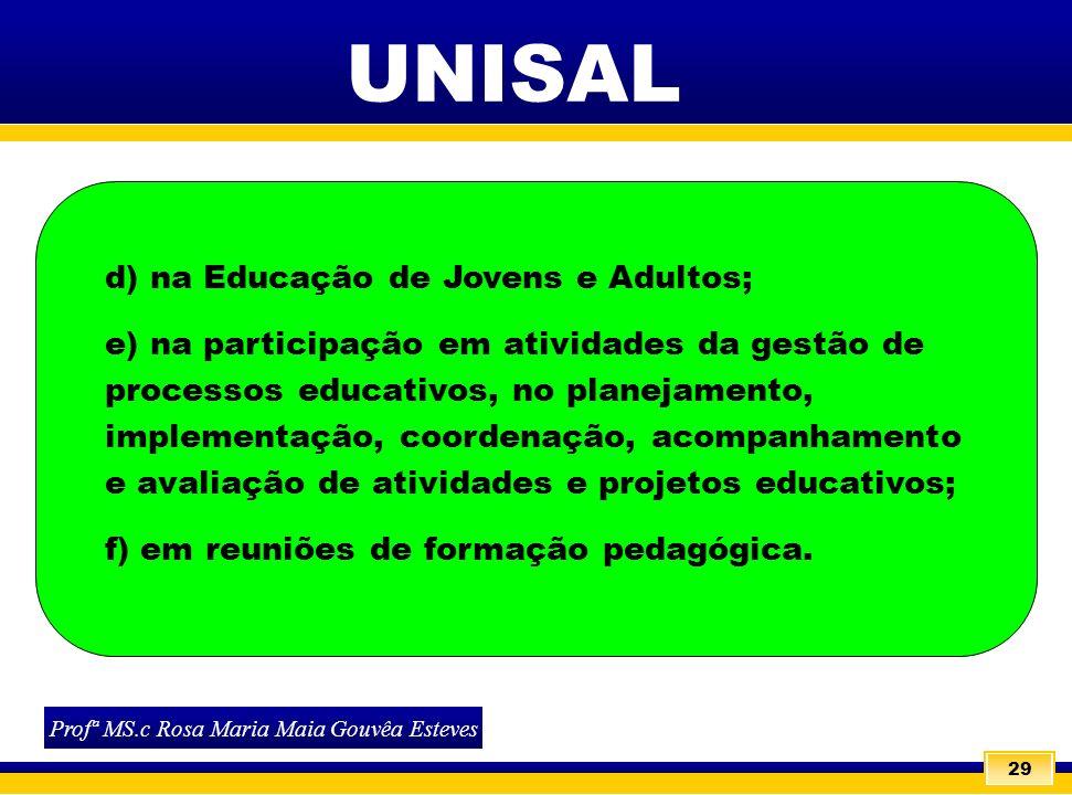 29 UNISAL Profª MS.c Rosa Maria Maia Gouvêa Esteves d) na Educação de Jovens e Adultos; e) na participação em atividades da gestão de processos educat
