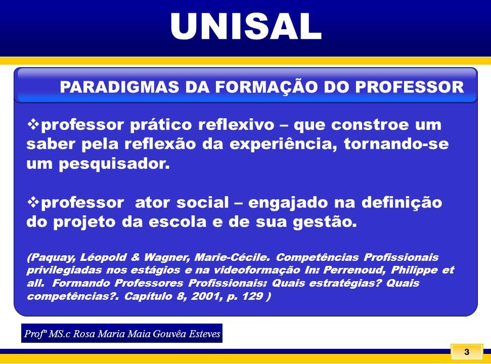 3 UNISAL professor prático reflexivo – que constroe um saber pela reflexão da experiência, tornando-se um pesquisador. professor ator social – engajad