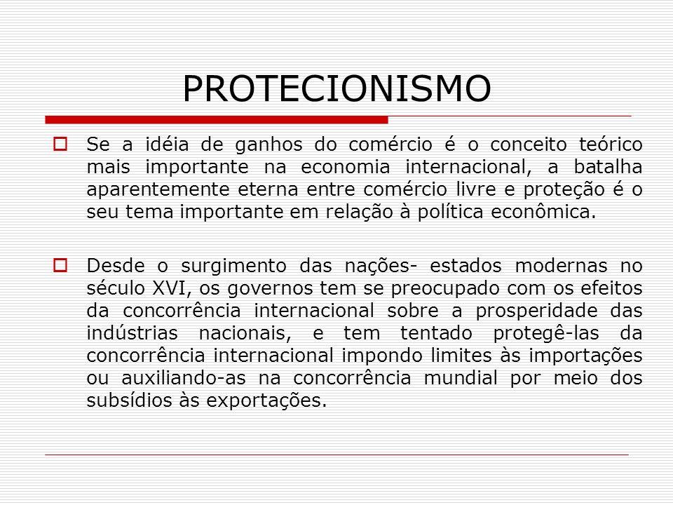PROTECIONISMO Se a idéia de ganhos do comércio é o conceito teórico mais importante na economia internacional, a batalha aparentemente eterna entre co