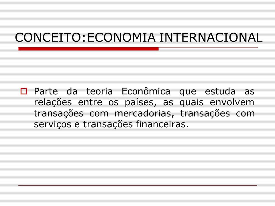 CONCEITO:ECONOMIA INTERNACIONAL Parte da teoria Econômica que estuda as relações entre os países, as quais envolvem transações com mercadorias, transa