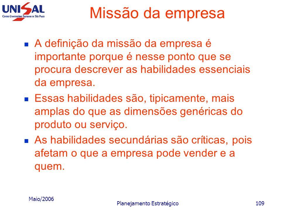 Maio/2006 Planejamento Estratégico108 Missão da empresa EmpresaNavio A empresa com todas as suas oportunidades e ameaças ambientais, bem como sua situ