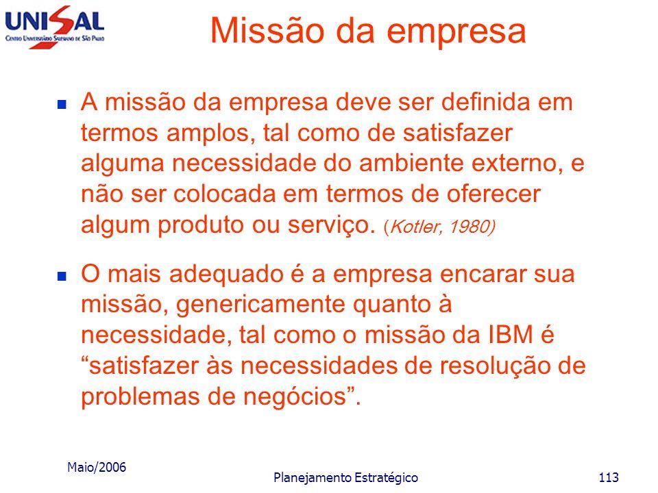 Maio/2006 Planejamento Estratégico112 Missão da empresa A definição da missão deve satisfazer a critérios racionais e sensatos que devem ser: suficien