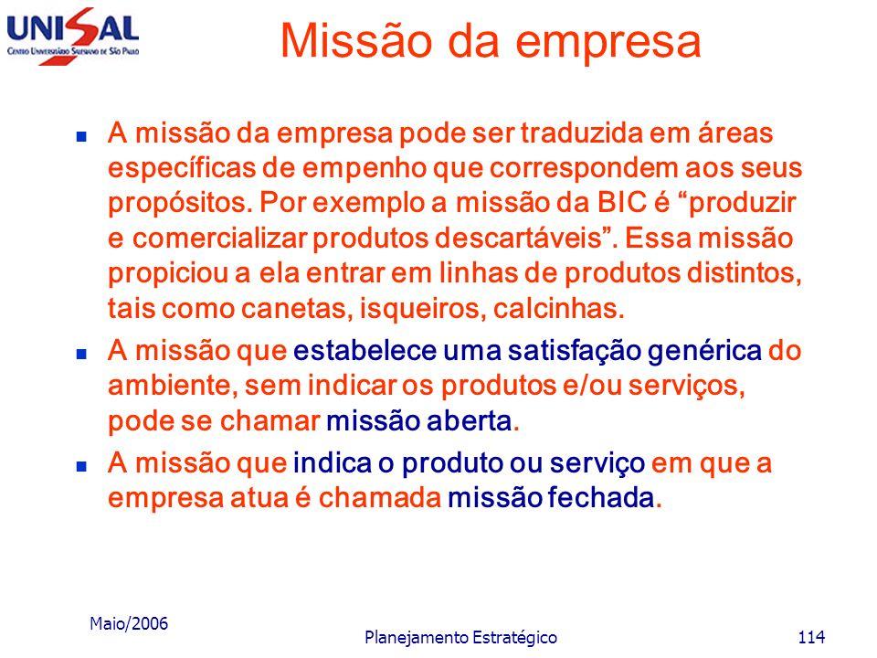 Maio/2006 Planejamento Estratégico113 Missão da empresa A missão da empresa deve ser definida em termos amplos, tal como de satisfazer alguma necessid