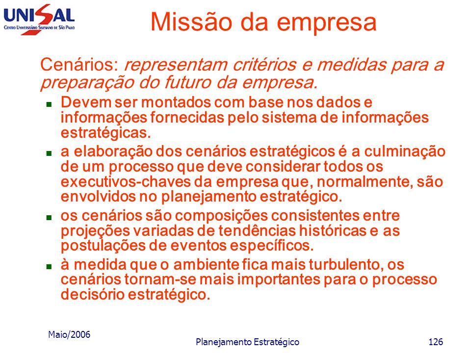 Maio/2006 Planejamento Estratégico125 Missão da empresa Essa criatividade pode gerar determinadas missões que sejam julgadas, em determinado momento,
