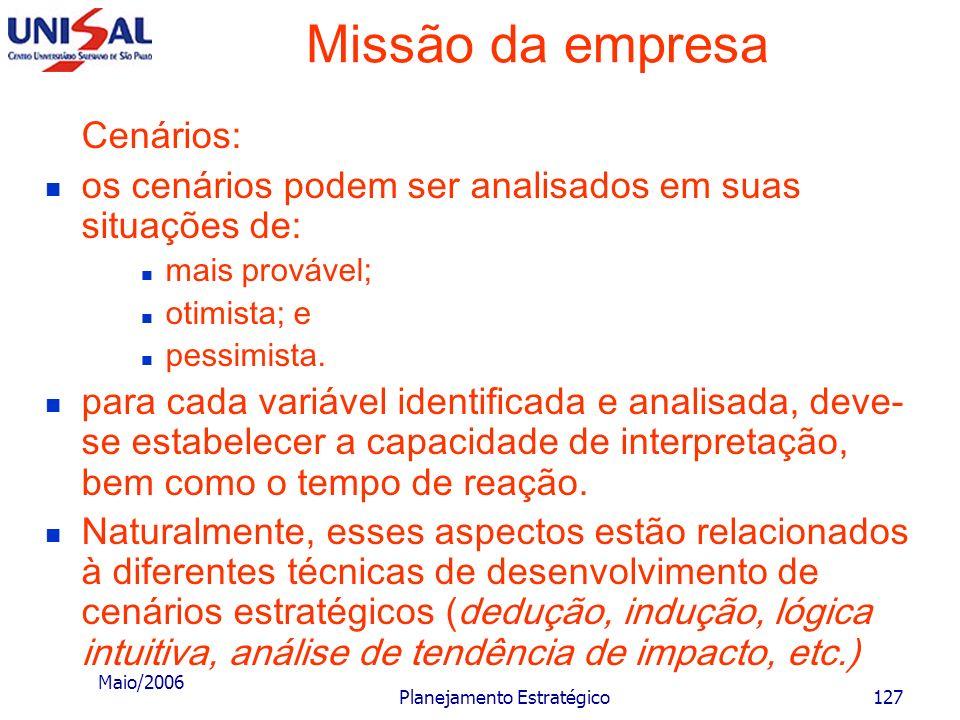 Maio/2006 Planejamento Estratégico126 Missão da empresa Cenários: representam critérios e medidas para a preparação do futuro da empresa. Devem ser mo