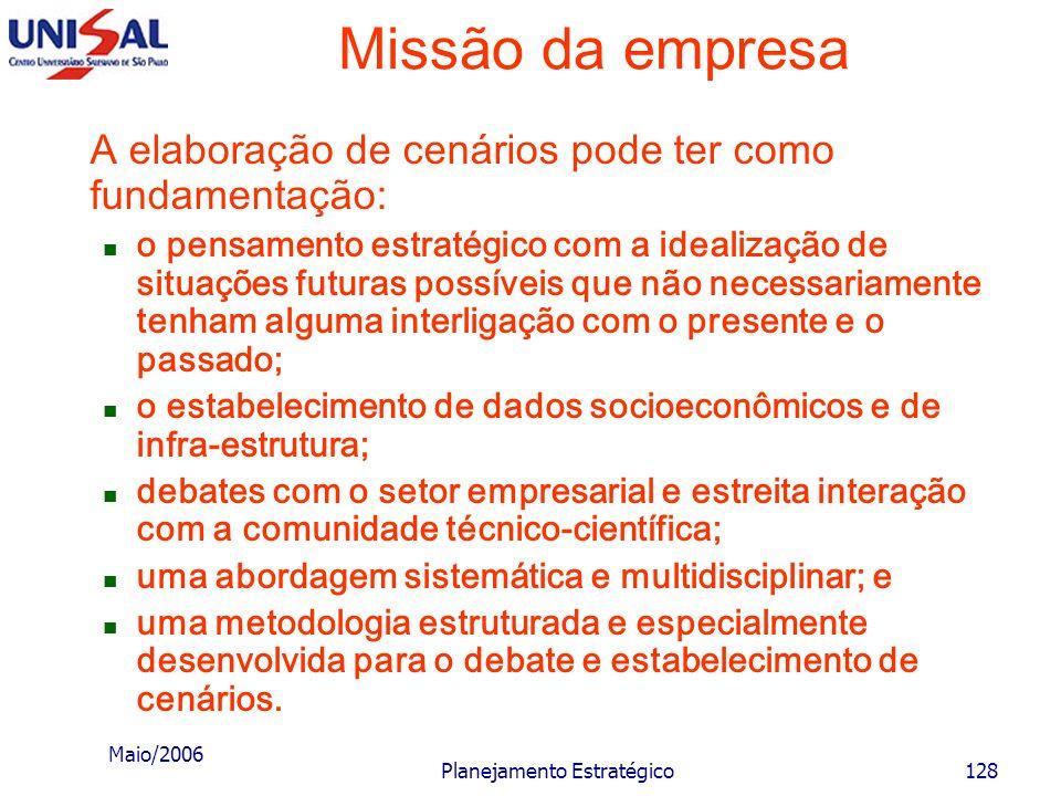 Maio/2006 Planejamento Estratégico127 Missão da empresa Cenários: os cenários podem ser analisados em suas situações de: mais provável; otimista; e pe
