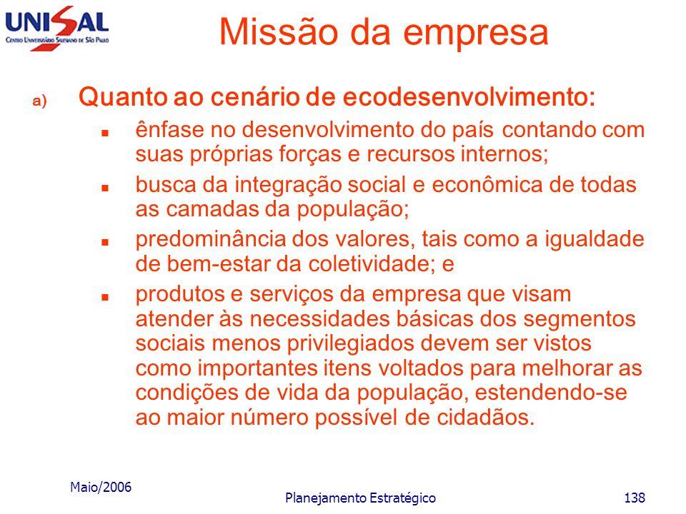 Maio/2006 Planejamento Estratégico137 Missão da empresa Os cenários de valores tratam de aspirações da sociedade, de valores sociais segundo diferente