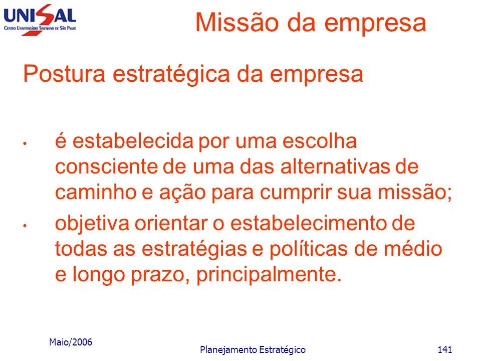 Maio/2006 Planejamento Estratégico140 Missão da empresa c) Quanto ao cenário de modernização: desenvolvimento do país através de uma sociedade produti