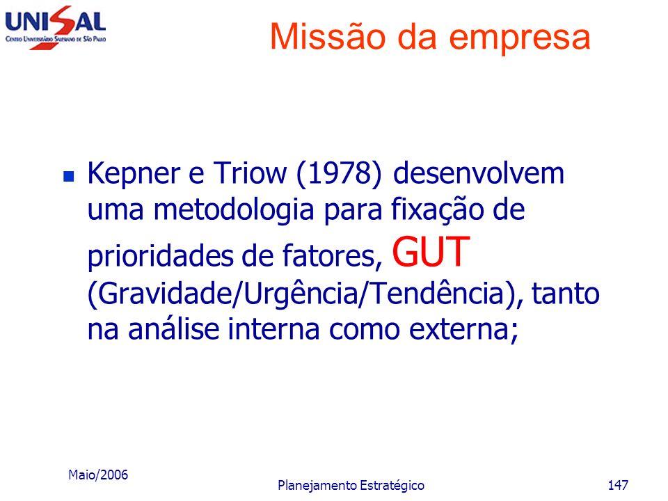 Maio/2006 Planejamento Estratégico146 Missão da empresa A empresa pode escolher uma das posturas estratégicas: a sobrevivência; a manutenção; o cresci