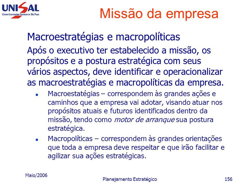 Maio/2006 Planejamento Estratégico155 Missão da empresa Macroestratégias e macropolíticas Após o executivo ter estabelecido a missão, os propósitos e