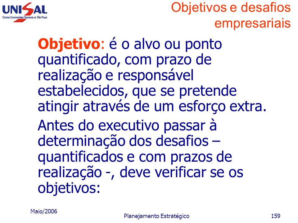 Maio/2006 Planejamento Estratégico158 Objetivos e desafios empresariais Objetivo: é o alvo ou ponto que se pretende atingir. Desafio: é a quantificaçã