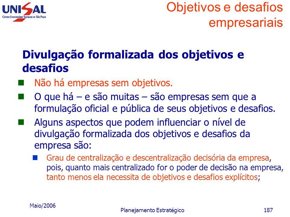 Maio/2006 Planejamento Estratégico186 Objetivos e desafios empresariais Necessidade de renovação periódica dos objetivos e desafios Mesmo que as condi