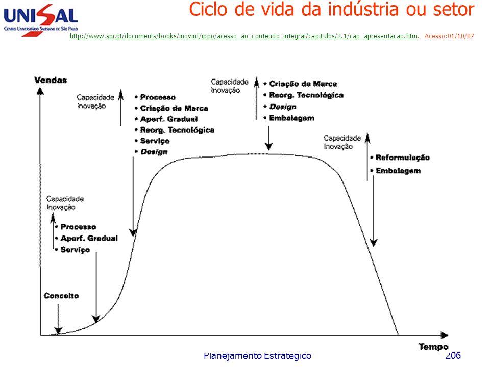 Maio/2006 Planejamento Estratégico205 Ciclo de vida da indústria ou setor Introdução Crescimento Maturidade Declínio Tempo Indústria A BCD