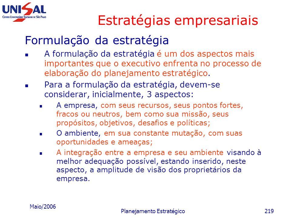 Maio/2006 Planejamento Estratégico218 Estratégias empresariais Materiais Permanecer, geograficamente, próximo às fontes fornecedoras de matérias-prima