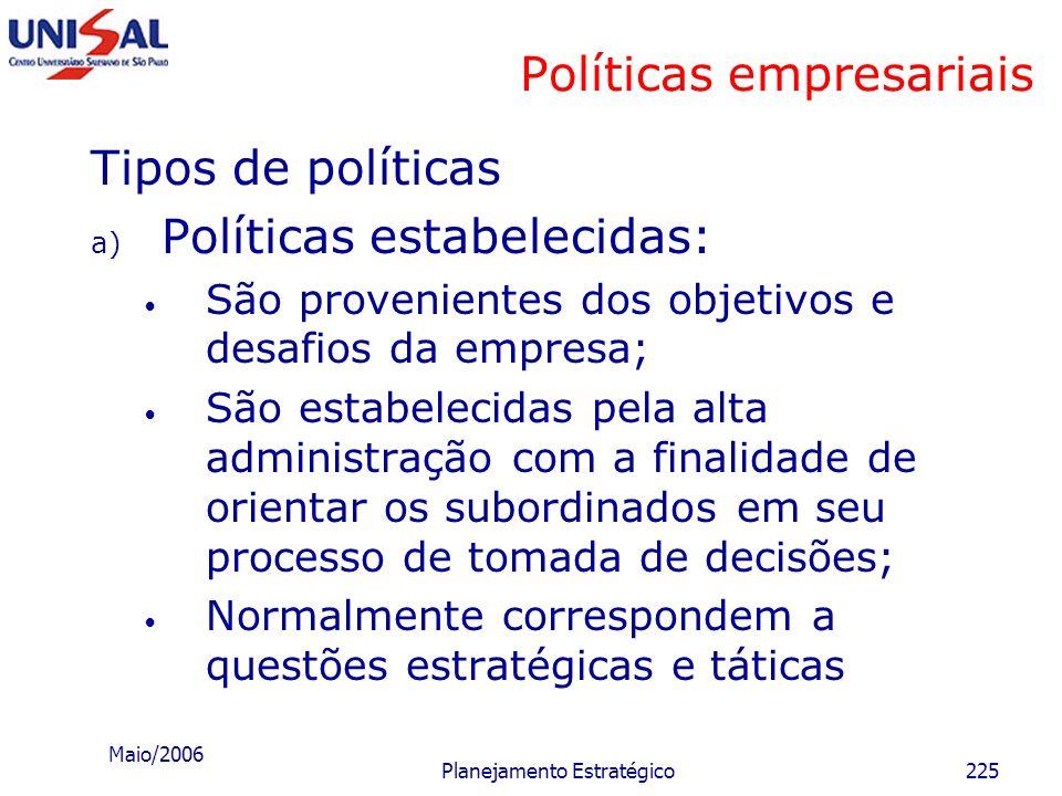 Maio/2006 Planejamento Estratégico224 Políticas empresariais Políticas: são parâmetros ou orientações que facilitam a tomada de decisão pelo executivo