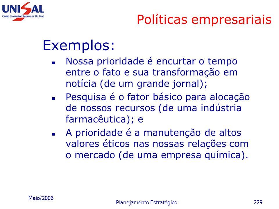 Maio/2006 Planejamento Estratégico228 Políticas empresariais Quanto ao tipo de divisão, as políticas podem ser: a) Gerais: representam princípios ou l